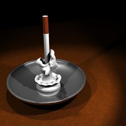 Download STL file Splashing Fish Cigarette Stubber • Template to 3D print, industrialpunk