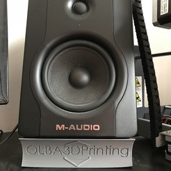 Free M-Audio BX5 D2 Speaker Stand (with Logo) 3D printer file, OLBA3D