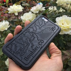 Download free 3D model Topographic Phone Case - Boulder, CO, BryanTheLion