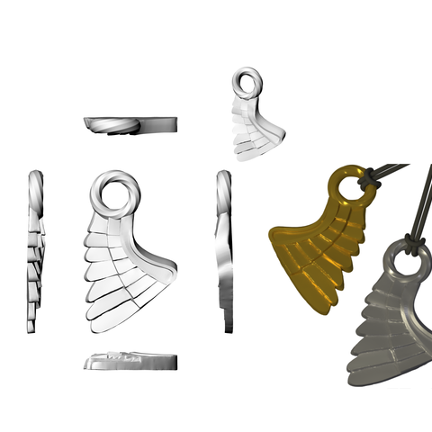 SIngle WIng_ Perspective 02_ 21 Apr.png Download STL file Wing Pendent and Charm 3D print model • 3D printable object, Cadiaan