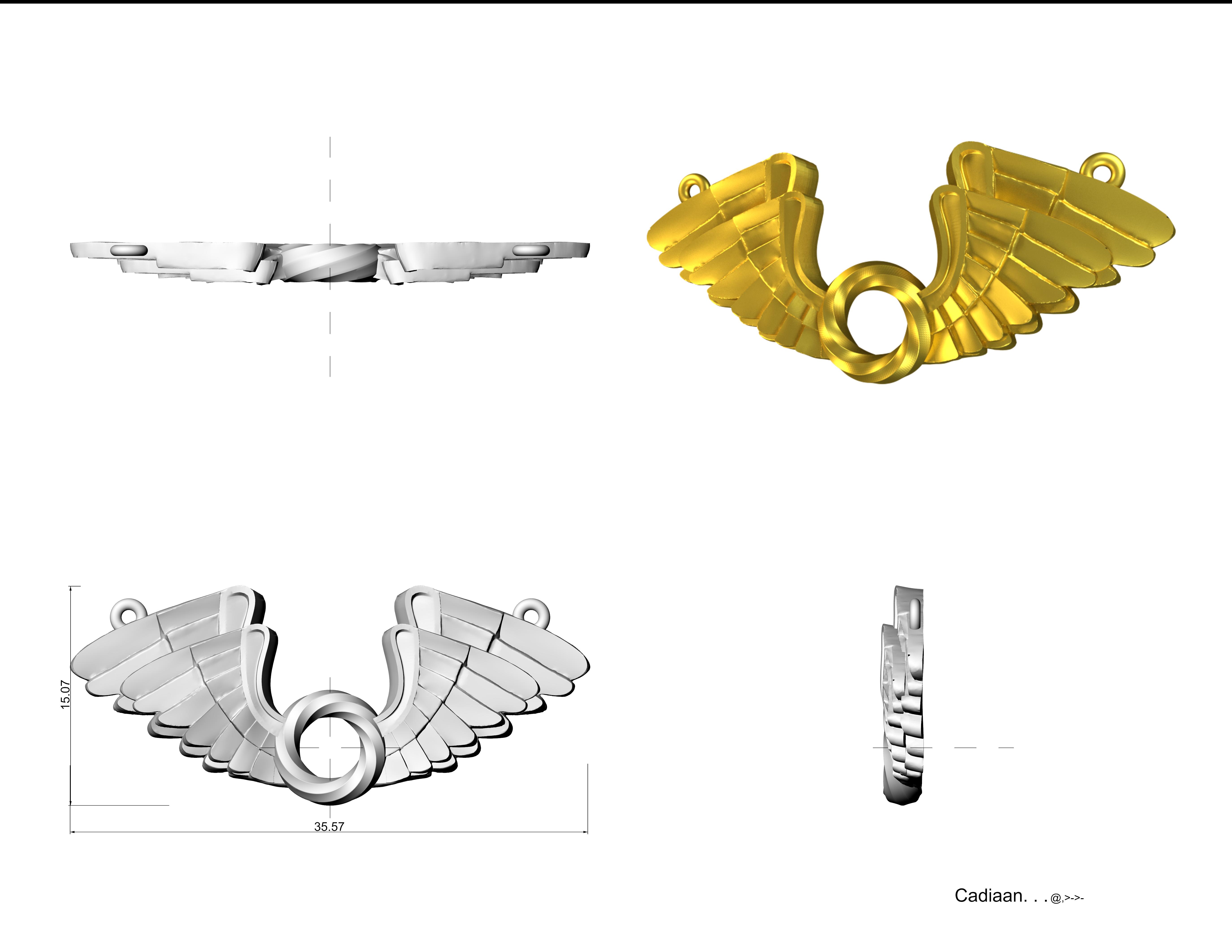 MOm and Child Wings_ Render.png Download STL file Wings Pendent 3D print model • 3D printer template, Cadiaan