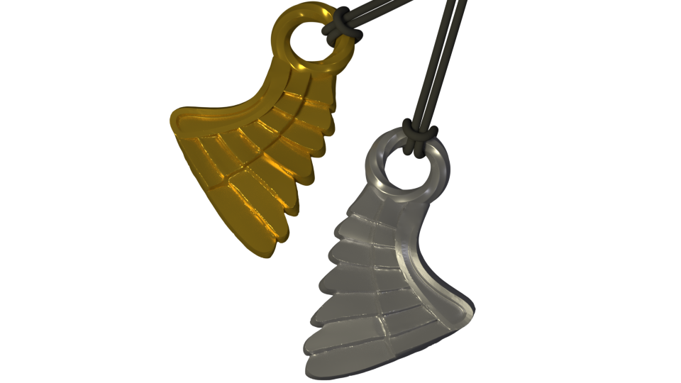 SIngle WIng_ Perspective 01_ 21 Apr.png Download STL file Wing Pendent and Charm 3D print model • 3D printable object, Cadiaan