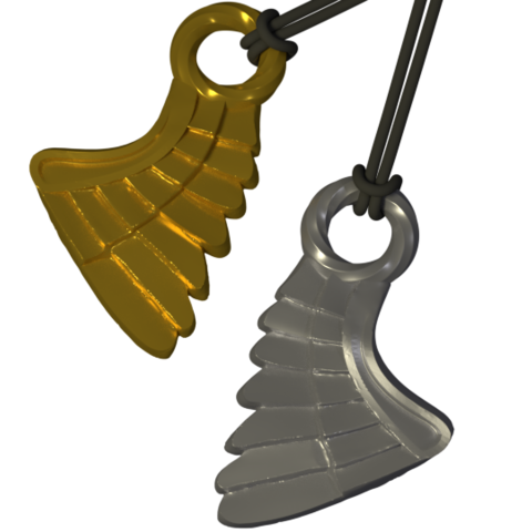 SIngle WIng_ Perspective 01_ 21 Apr - Copy.png Download STL file Wing Pendent and Charm 3D print model • 3D printable object, Cadiaan