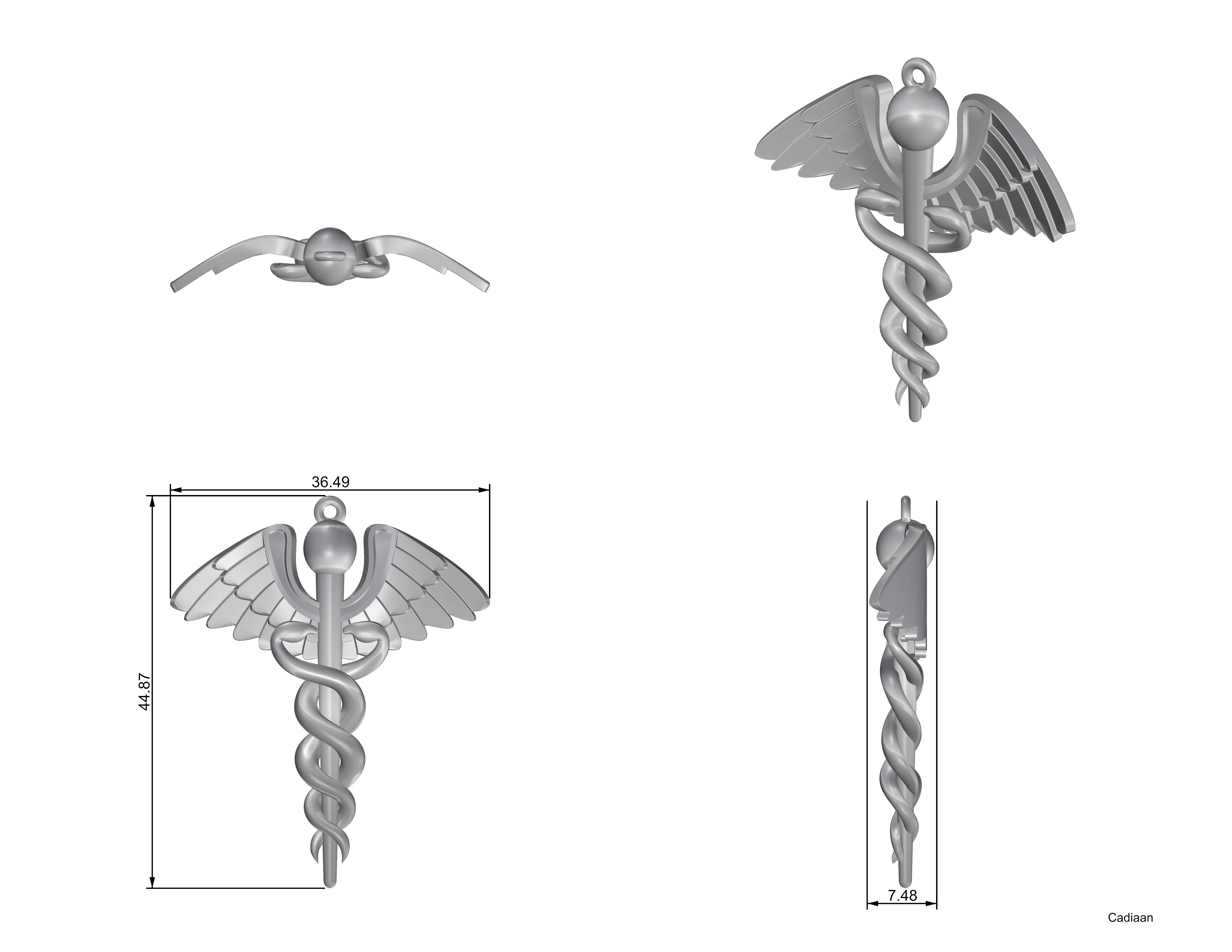 Caduceus.jpg Download OBJ file Caduceus • 3D printable template, Cadiaan