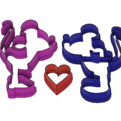 Descargar archivos STL Cortador de galletas Mickey y Minnie Love (Cortador de Biscoito Mickey e Minnie), ramonxxl
