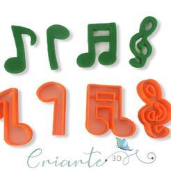 Download 3D printing files Musical notes cookie cutter (Notas Musicais Cortadores), ramonxxl