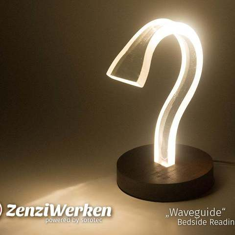 "Download free 3D printer designs ""Waveguide"" Bedside Reading Lamp cnc, ZenziWerken"