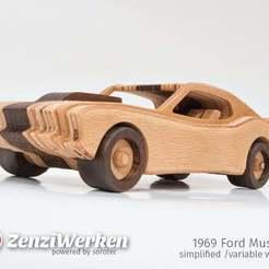 Télécharger plan imprimante 3D gatuit Mustang 1969 simplifié (largeur variable) cnc/laser, ZenziWerken