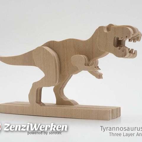 Télécharger fichier STL gratuit Tyrannosaurus-Rex 3 couches-animal cnc/laser, ZenziWerken