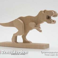 Download free STL file Tyrannosaurus-Rex 3-layered-animal cnc/laser, ZenziWerken