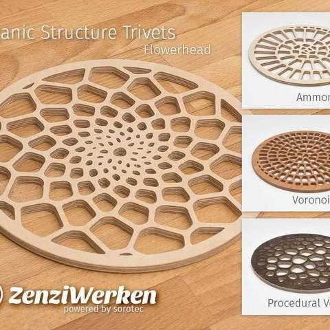 Télécharger fichier 3D gratuit Diverses structures organiques Trivets cnc/laser, ZenziWerken