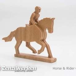 Download free 3D printing templates Horse & Rider 3-layered-animal cnc/laser, ZenziWerken