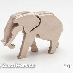 Download free 3D printer files Elephant 3-layered-animal cnc/laser, ZenziWerken