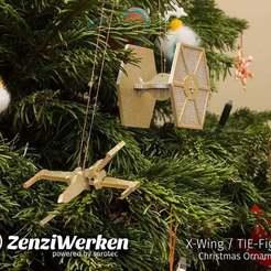 Télécharger plan imprimante 3D gatuit X-Wing/TIE-Fighter ornements de Noël cnc/laser/fdm, ZenziWerken