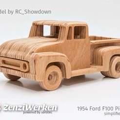 Télécharger STL gratuit 1954 Ford F100 Pickup simplifié cnc, ZenziWerken