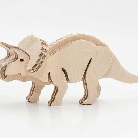 Download free 3D printer templates Dino Triceratops 3-layered-animal cnc/laser, ZenziWerken