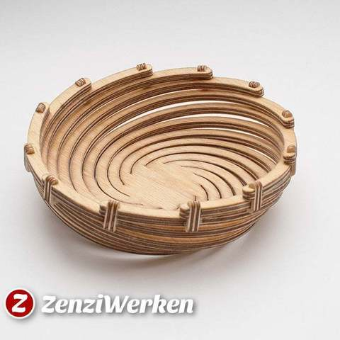 Fichier 3D gratuit Bend Spiral Bowl cnc/laser, ZenziWerken