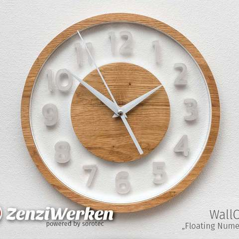 "Download free 3D printing designs WallClock ""Floating Numerals"" cnc, ZenziWerken"