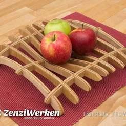 "Fichier 3D gratuit FruitPlate ""The Wave"" cnc/laser, ZenziWerken"