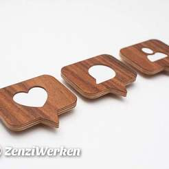 Descargar STL gratis Real Wood Like/Comment/Follower Badges cnc/laser, ZenziWerken