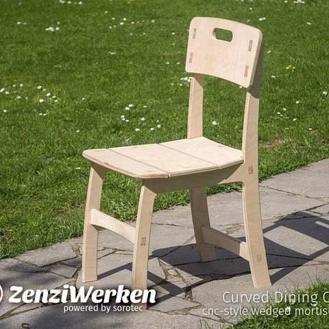 Descargar Modelos 3D para imprimir gratis Silla de comedor curvada de estilo cnc con juntas de embutir de cuña, ZenziWerken