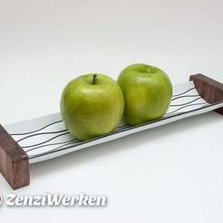 "Download free 3D printer templates Futuristic Apple Tray ""Lines"" cnc/laser, ZenziWerken"