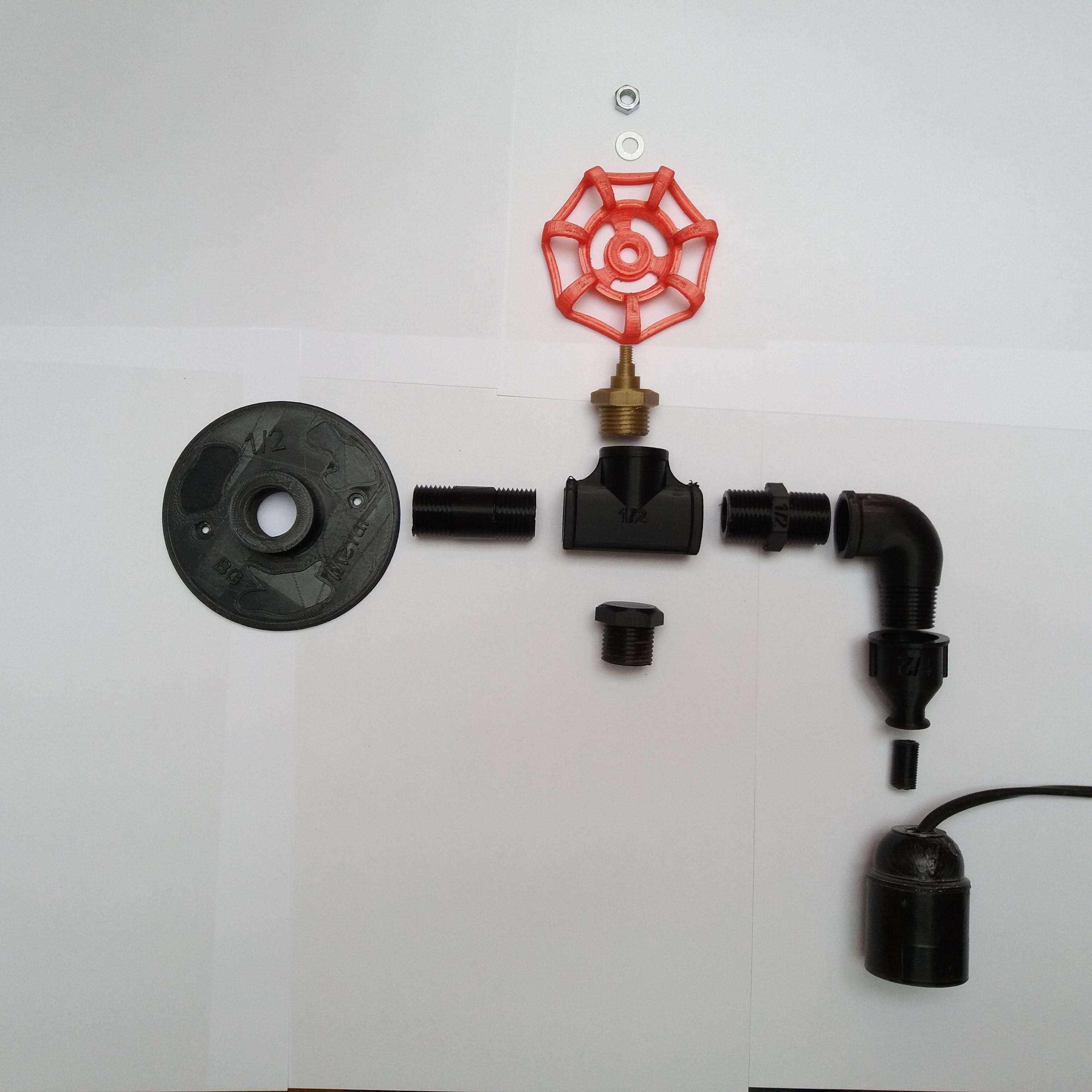 Raccords utilises.jpg Download free STL file Wall lamp, Lamp, fittings, Decoration. • 3D print template, gerbat