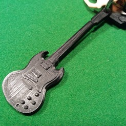 Free 3D printer model Gibson SG standard ebony guitar keychain, gerbat