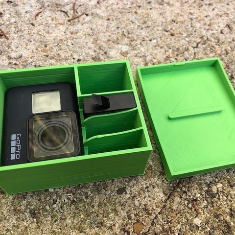 Download free 3D printing templates gopro 7 storage box, datheus