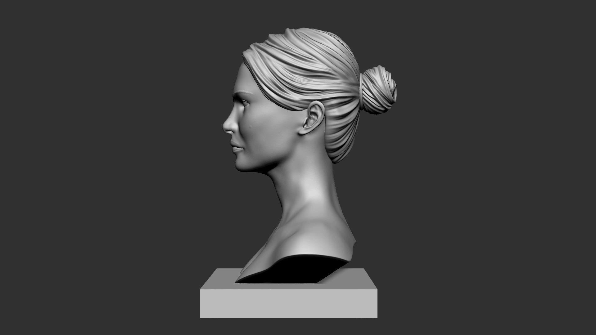 Portman_04.png Download OBJ file Natalie Portman Bust • 3D printing object, Ben_M