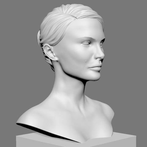 Portman_05.png Download OBJ file Natalie Portman Bust • 3D printing object, Ben_M