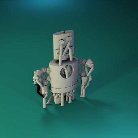 Free 3D printer file Dr Fluff Robot, Flat Freddy, ThinkerThing