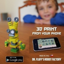 Download free 3D printer designs USB robot Dr Fluff, ThinkerThing