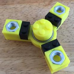 Free 3D printer file Customizable Lego-like Fidget Spinner & Hex Nut Brick, Lucina