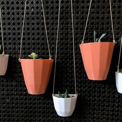 Download free 3D printing templates Customizable Hanging Wall Planter, Lucina