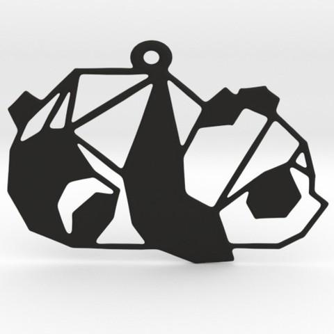 Modelo STL Colgante geométrico panda, mo_mo