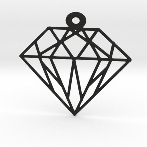 Modèle 3D Pendentif géométrique en diamant, Merve
