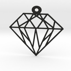 Diamond Geometric Pendant STL file, mo_mo