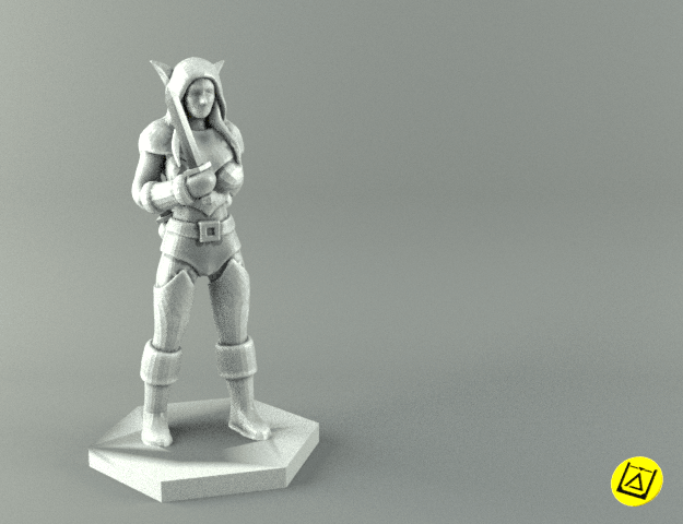 rogue2 render.png Download STL file ELF ROGUE FEMALE CHARACTER GAME FIGURES 3D print model • 3D printer object, 3D-mon
