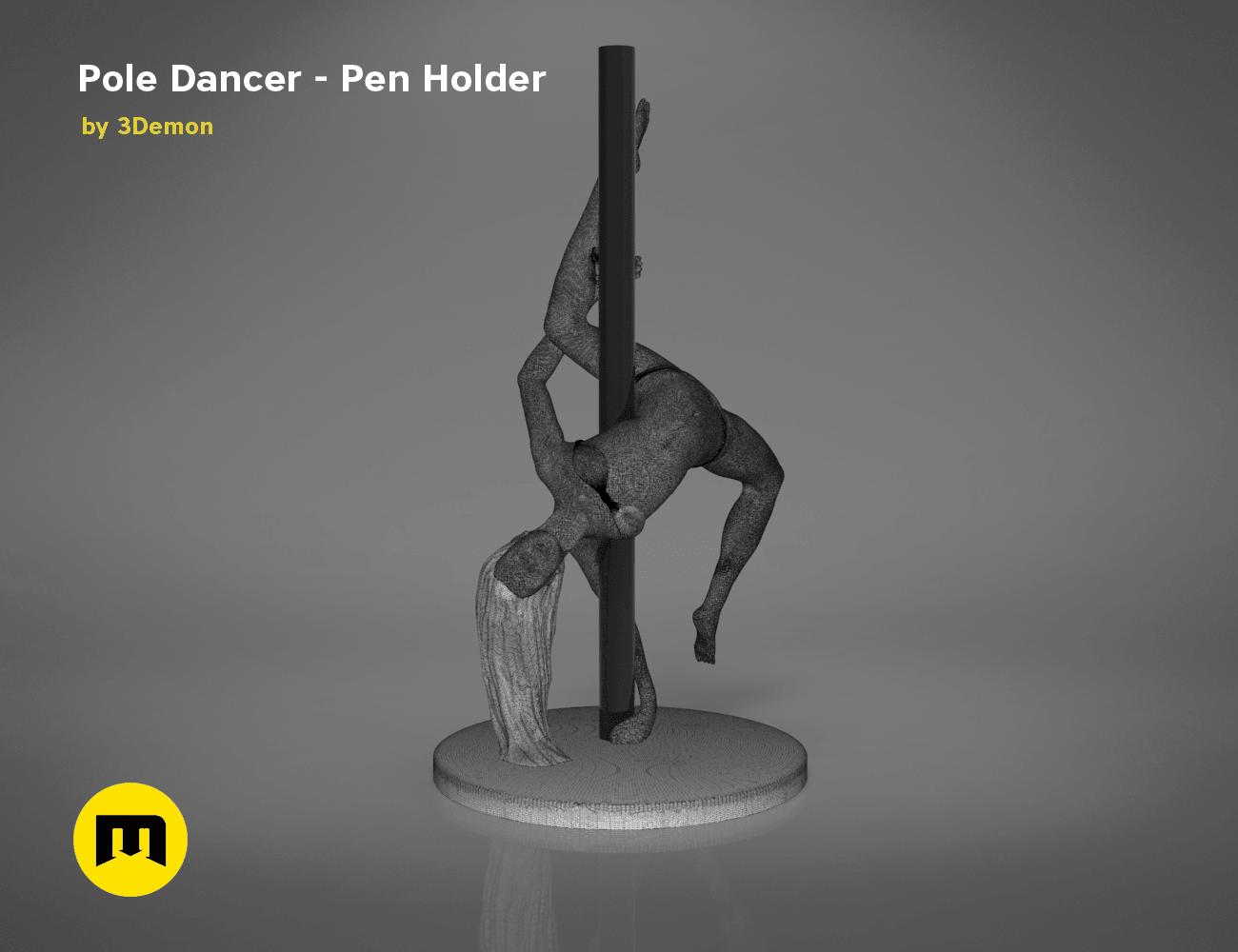 poledancer-front.168.png Download STL file Pole Dancer - Pen Holder • Object to 3D print, 3D-mon