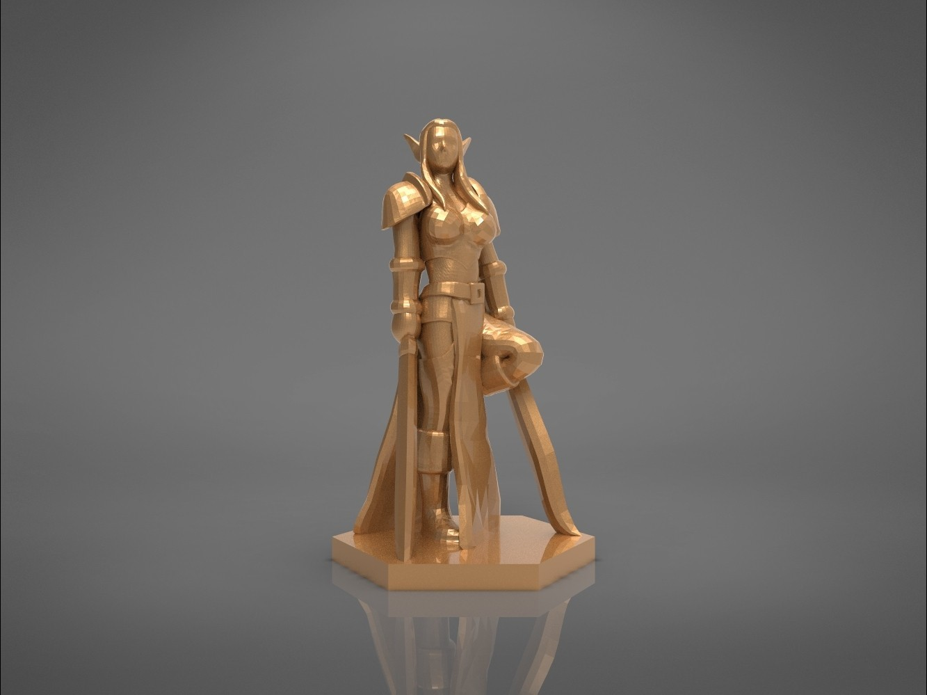 Warrior_2-front_perspective.323.jpg Download STL file ELF WARRIOR FEMALE CHARACTER GAME FIGURE 3D print model • 3D printing object, 3D-mon