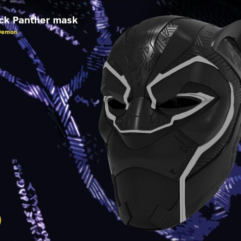 Download 3D printer templates Black Panther mask, 3D-mon