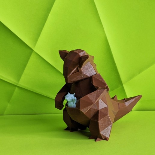 Download STL file Kangaskhan Low Poly Pokemon with Baby • 3D printer object, 3D-mon