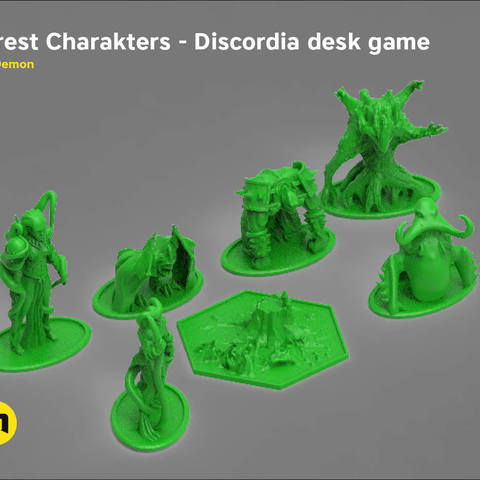 Download 3D printing templates Discordia Forest board game figures, 3D-mon