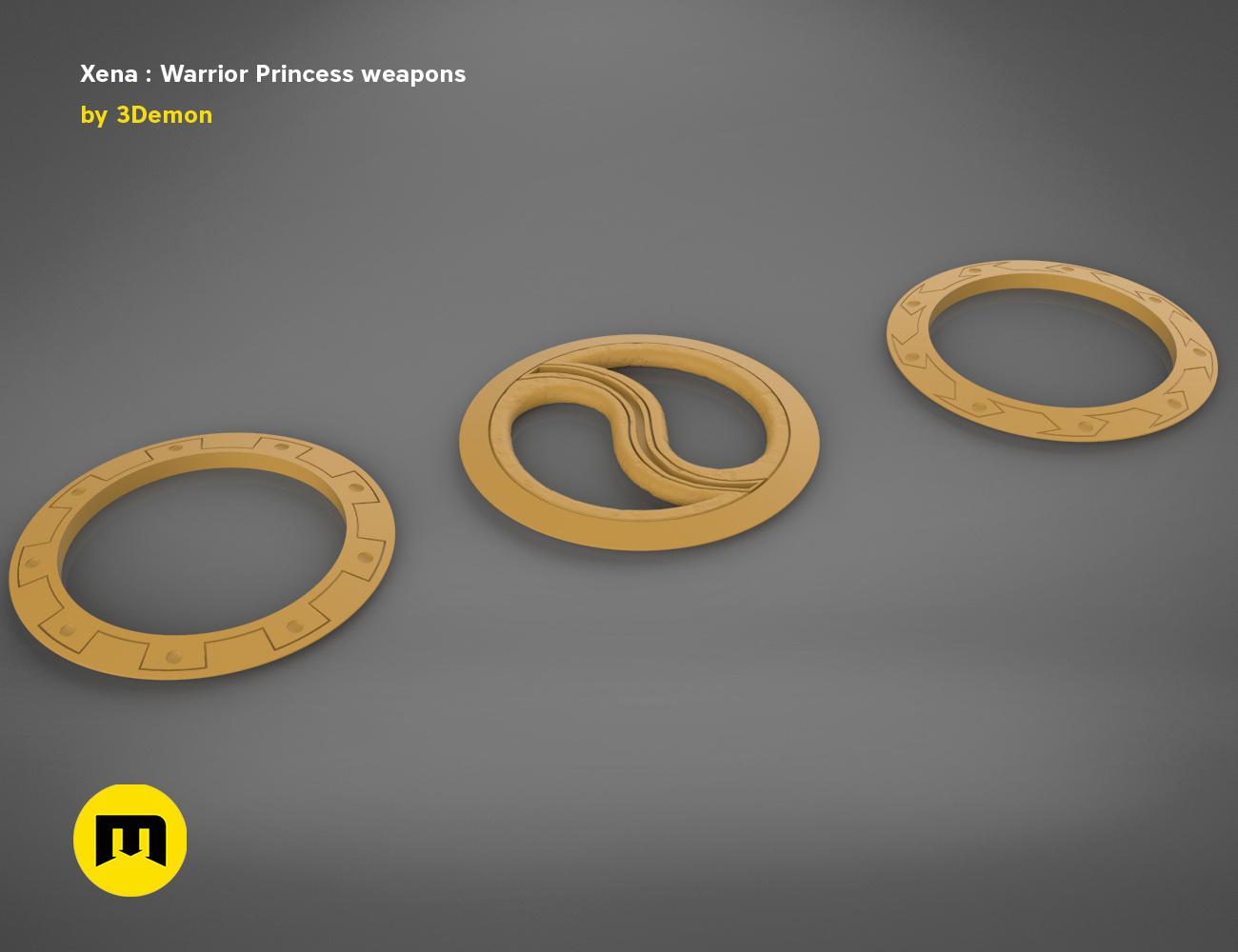 render_scene_xena-weapons-basic.54 kopie.jpg Download STL file Xena - Warrior Princess Chakrams • 3D print model, 3D-mon