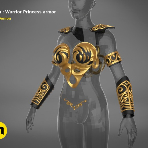 render_scene_Xena-armor-color.2.jpg Download STL file Xena - Warrior Princess cosplay armor • 3D print template, 3D-mon