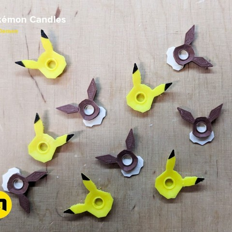 3562413f25c0bc4199aec8983ce2d3ff_display_large.jpg Download free STL file Pokemon Bithday Candles - Pikachu and Eevee • Object to 3D print, 3D-mon