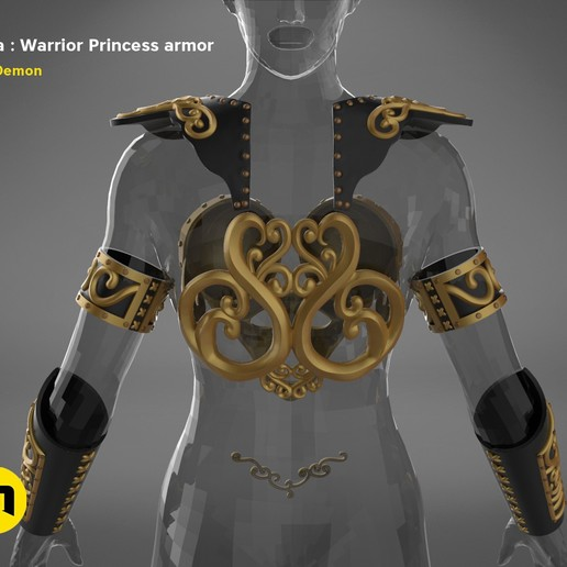 render_scene_Xena-armor-color.5.jpg Download STL file Xena - Warrior Princess cosplay armor • 3D print template, 3D-mon