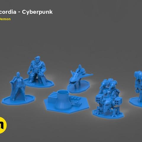 Download 3D printing models Discordia Cyberpunk board game figures, 3D-mon