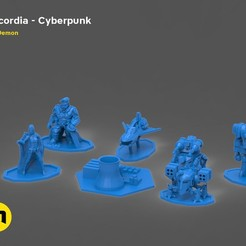 Download 3D printing models Discordia Cyberpunk board game figures, 3D-mon
